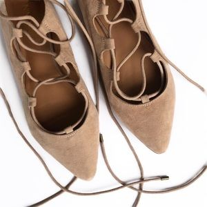 Nine West lace up pointed toe ballet flats